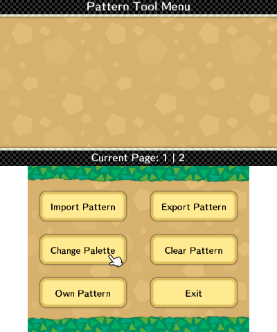 Pattern tool menu