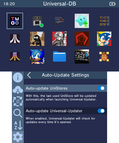 Auto update settings